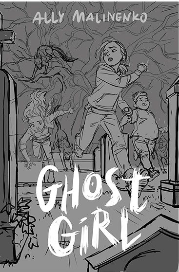 Alternative cover showing three main characters running from hounds in a chase through the cemetery