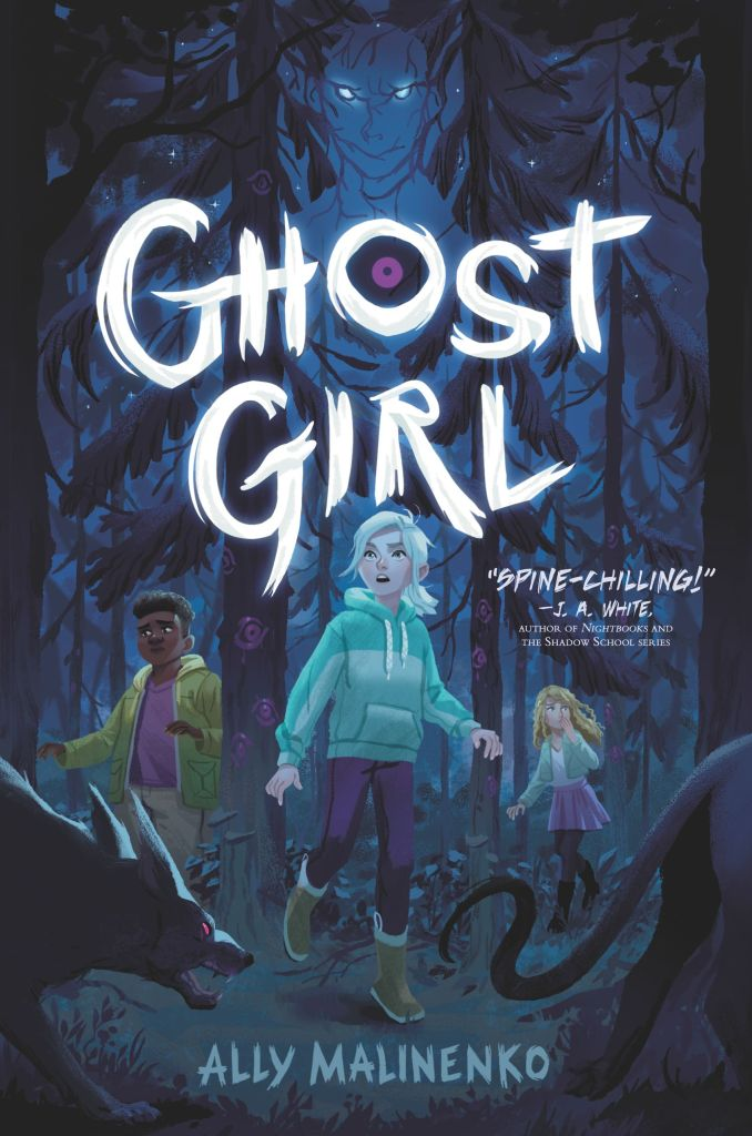Final Cover of GHOST GIRL image of three children in the woods, surrounded by hounds and the trees now make out a shadowy figure over the title